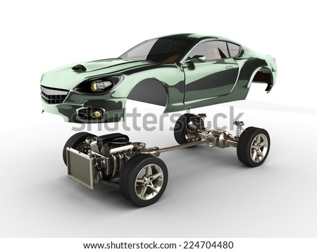 Car chassis with engine of luxury brandless sportcar - stock photo
