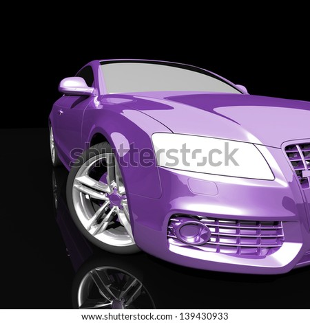 car color on a dark background. with shiny paint and lights on. design concept. 3d rendering modern car, front view