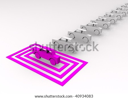 Car concept - pink car targeted in squares. - stock photo