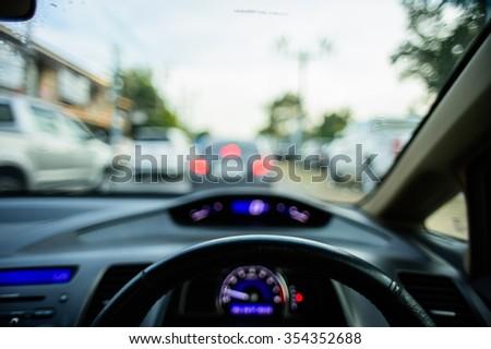 car console, waiting in a traffic jam, Focus blur - stock photo