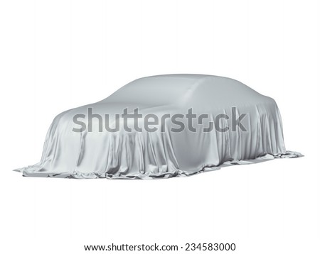 Car covered with a grey cloth  - stock photo