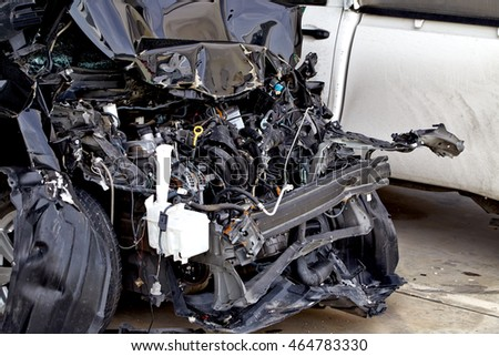 car crash accident damaged automobiles.