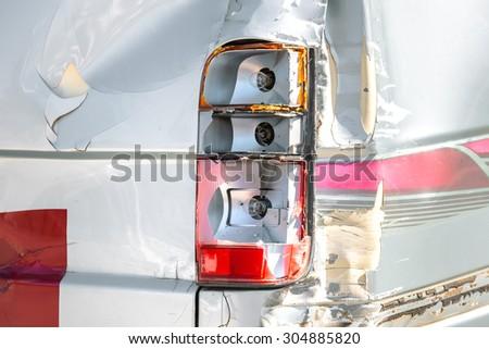 Car crash accident - damaged automobiles after collision - insurance concept - stock photo