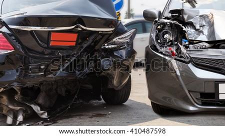 Car crash accident on street - stock photo