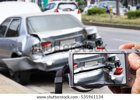 car crash accident on street and zoom photo for insurance