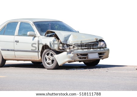 car crash accident on street, damaged automobiles after collision in city.Clipping path included
