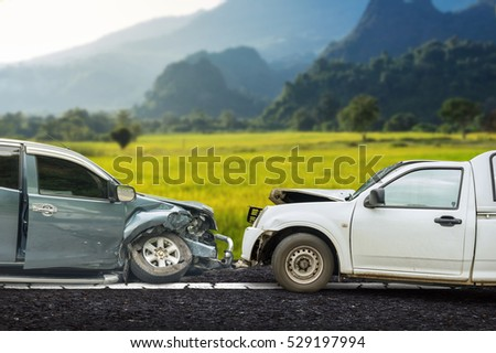 car crash accident on street, damaged automobiles after collision on the road.