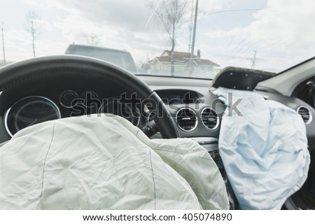 Car Crash air bag, blue,  inscription airbag  - stock photo