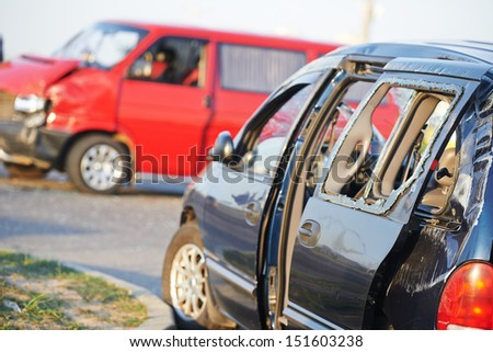 car crash collision accident on an city road - stock photo