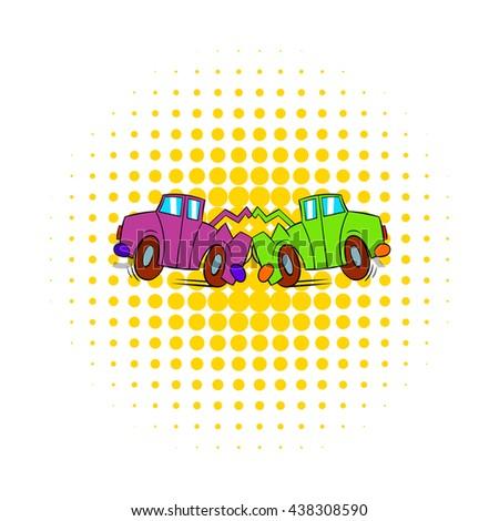 Car crash icon in comics style - stock photo