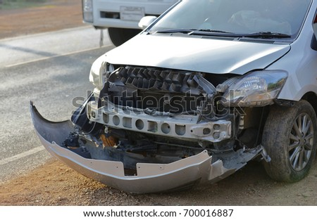 Car crash on front area cause of unsafe behavior of driver, Car get damaged by accident on the road