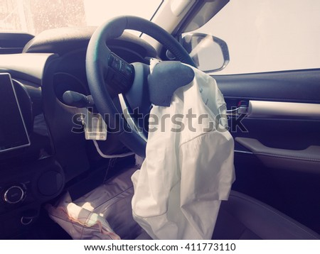 Car crash or accident, Airbag,  Inside. - stock photo