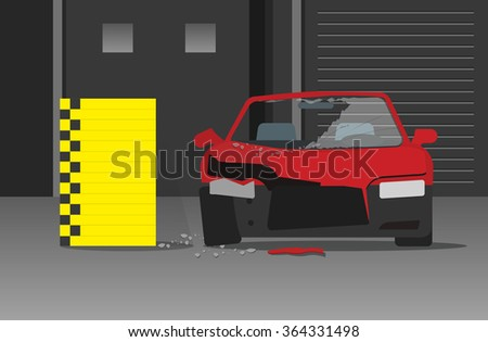 Car crash test illustration in lab garage, concept of automotive experiment, safety research, testing laboratory, engineering analysis centre modern flat cartoon design image - stock photo