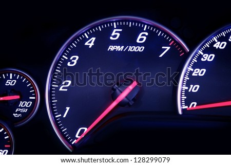 Car Dash with Instruments. Rounds Per MInute Dial. Motorsport Photo Collection.