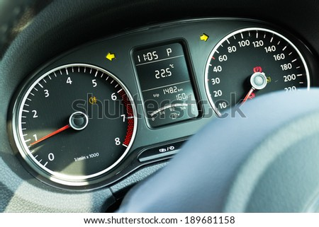 Car Dashboard. Close up image.