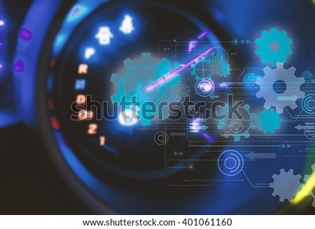 Car Dashboard.futuristic technology background,gear wheel on circuit board - stock photo
