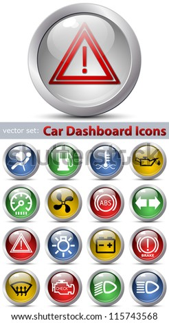 Car dashboard icons set - stock photo