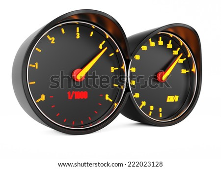 Car dashboard isolated on white background. 3d rendering image - stock photo