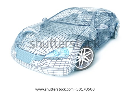 Car design, wire model. My own design. - stock photo