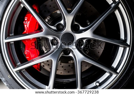 Car detailing series : Super car disc-brake - stock photo