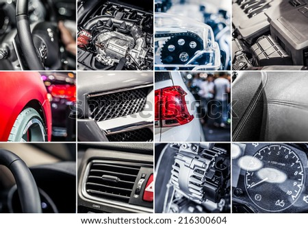 Car details collage - stock photo