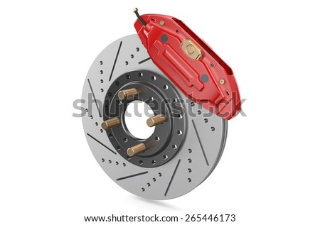 Car disc brake and caliper isolated on white background