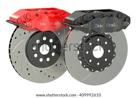 Car discs brake and caliper. 3D rendering isolated on white background - stock photo