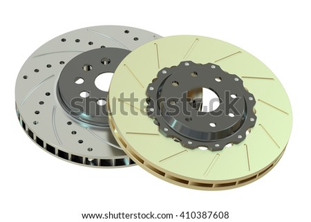 Car discs brake, 3D rendering isolated on white background - stock photo