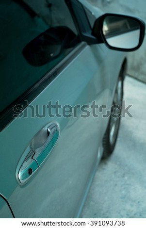 Car door and wing mirror with side view