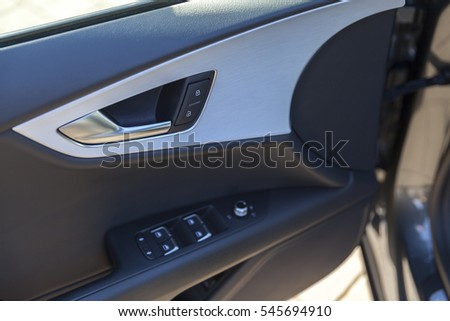 car door inside, close up