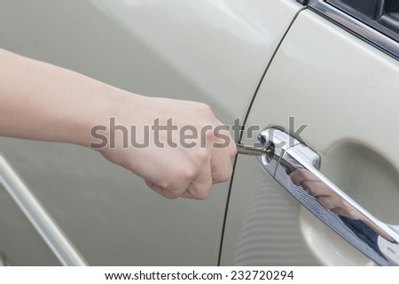car door with key  - stock photo