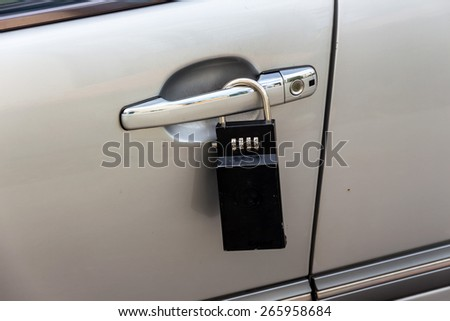 car door with padlock icon for theft protection, security, protection