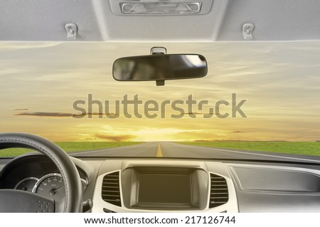 Car, Drive to sunset. - stock photo