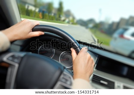 Car driver. Auto background. - stock photo