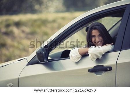 Car driver woman - stock photo