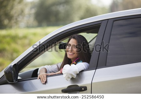 Car driver woman - stock photo