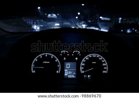 car driving at night - stock photo