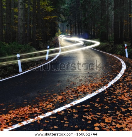 Car driving down the night forest road - stock photo