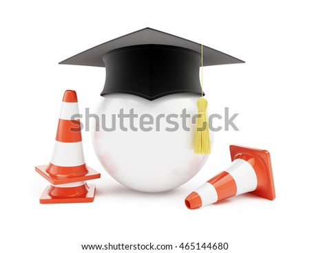 Car driving schools, traffic cones, road construction on a white background. 3d Illustrations