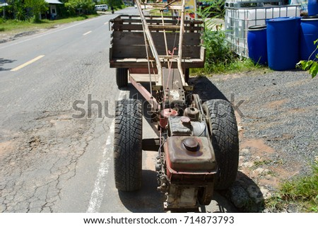 Car e-taen motorized trailer. Agricultural vehicle Thailand