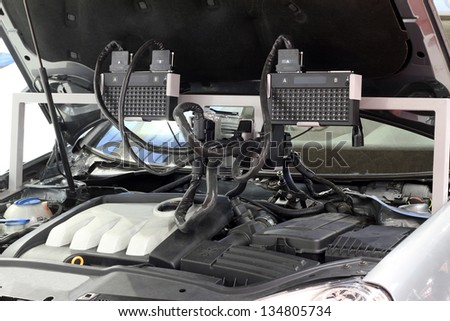 car engine and diagnostic computer