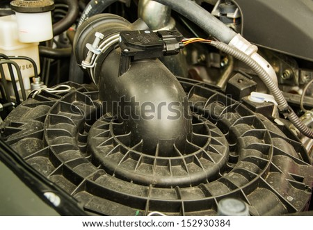 Car engine close up detail. - stock photo