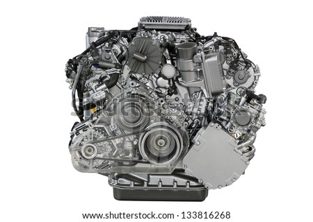 car engine front view isolated on white - stock photo