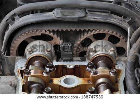 Car engine head two camshaft system, pulley and belt - stock photo