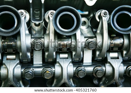 car engine inside view isolated over white - stock photo