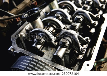 car engine inside view very close up - stock photo