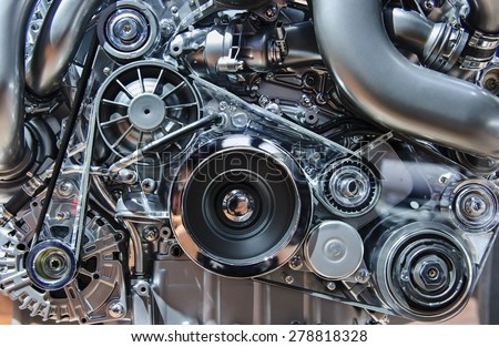 Car engine, modern automobile motor with metal, chrome, steel, plastic parts - stock photo