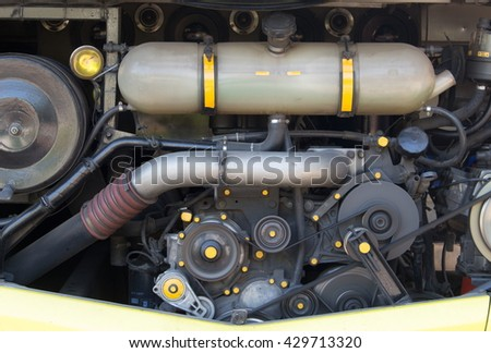 Car Engine - Modern powerful car engine, bus car Engine. motor Rotating belt. - stock photo