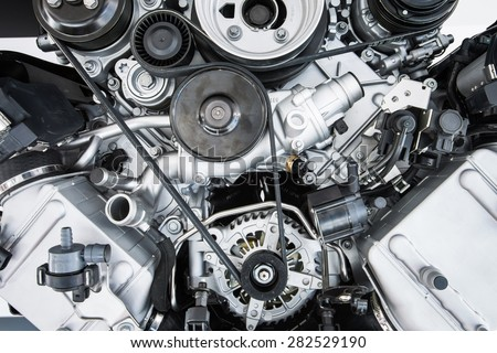 Car Engine - Modern powerful car engine(motor unit - clean and shiny - stock photo