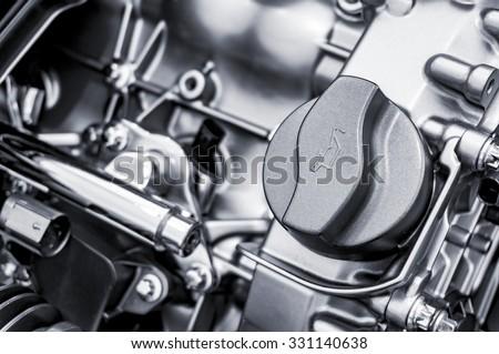 Car engine oil cap - stock photo
